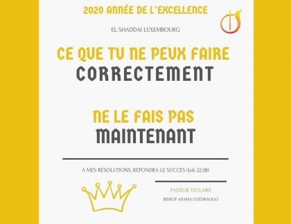 MES DÉCLARATIONS 2020 – ANNÉE DE L'EXCELLENCE